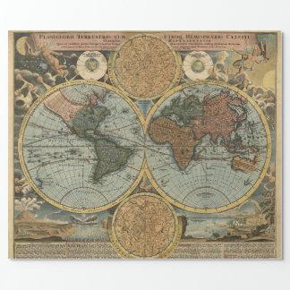 Papier Cadeau Vieille carte de la cartographie antique de cru du