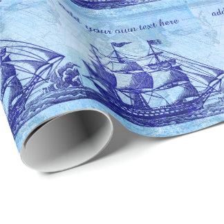 Papier Cadeau Vieille Chambre bleue de bateau et de plage de