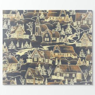Papier Cadeau Village vintage de Noël d'or de