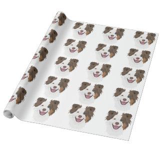 Papier Cadeau Visage heureux border collie de chiens