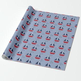 Papier Cadeau Voiliers nautiques sur le bleu