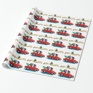 Papier Cadeau Voiture de cru de caniches de Noël