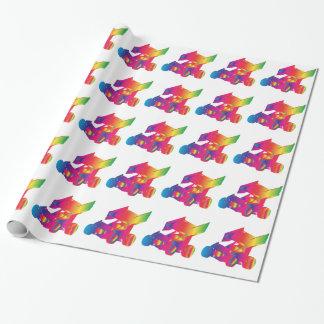 Papier Cadeau Voiture de sprint à ailes par couleur multi
