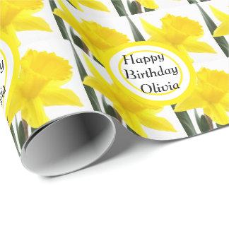 Papier Cadeau Votre message avec la jonquille jaune de narcisse