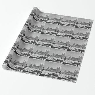 Papier Cadeau Voyage blanc noir de Venise Italie de canal grand