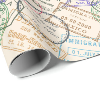 Papier Cadeau Voyage de timbres de passeport