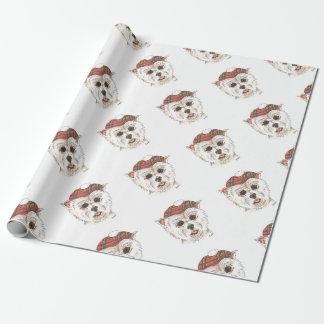 Papier Cadeau Westie petit dans le capot de tartan
