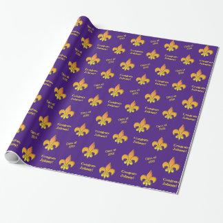 Papier Cadeau Yellow Fleur de Lis pourpre personnalisé