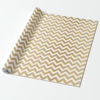 Papier Cadeau Zigzag d'or blanc classique de Chevron