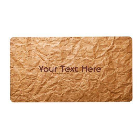 Papier chiffonné par beige étiquette d'expédition