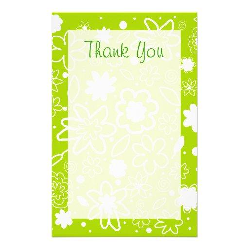 papier de merci de motif de fleur de vert de chaux papeterie zazzle. Black Bedroom Furniture Sets. Home Design Ideas