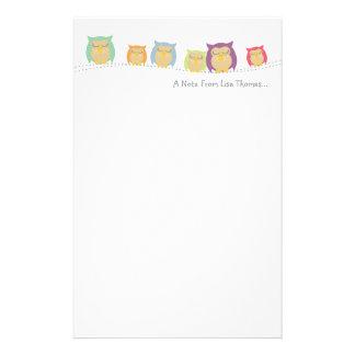 Papier de note personnalisé de hibou papier à lettre personnalisable