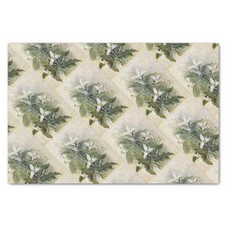 Papier de soie de soie blanc vert élégant de fleur