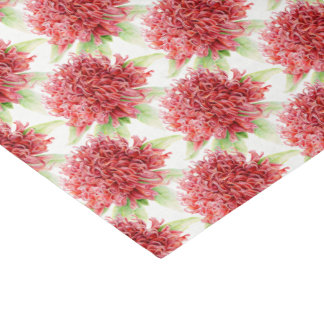 Papier de soie de soie botanique rouge d'aquarelle