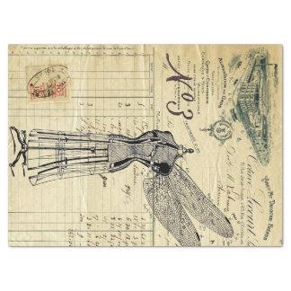 Papier de soie de soie de collage de libellule