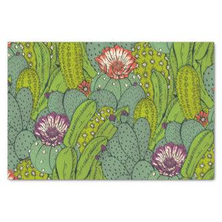 Papier de soie de soie de motif de fleur de cactus