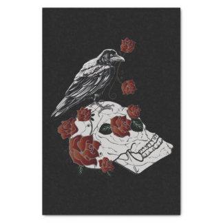 Papier de soie de soie de Raven, de crâne et de