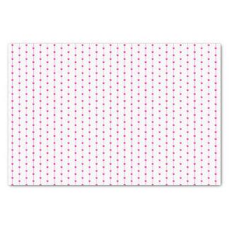 Papier de soie de soie rose lié de motif de coeurs