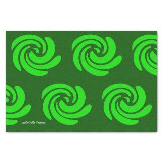 Papier de soie de soie vert de remous