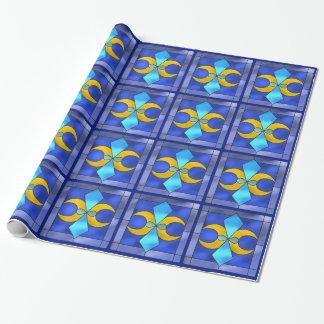 Papier d'emballage bleu de lune géométrique en papier cadeau