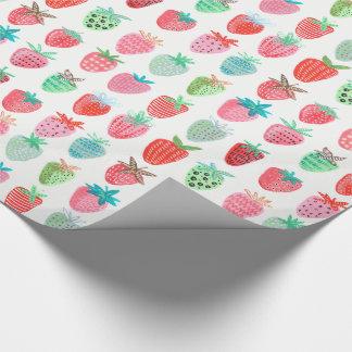 Papier d'emballage brillant du fruit   de fraise papier cadeau
