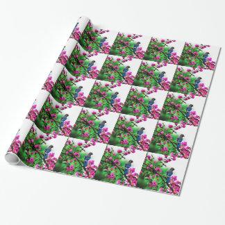 Papier d'emballage carrelé de geai bleu papier cadeau