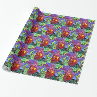 Papier d'emballage carrelé par orchidée colorée papier cadeau
