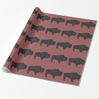 papier d'emballage de bison de Cru-style Papier Cadeau Noël