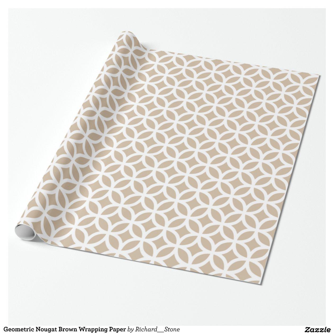 papier d 39 emballage de brown de nougat g om trique papier cadeau zazzle. Black Bedroom Furniture Sets. Home Design Ideas