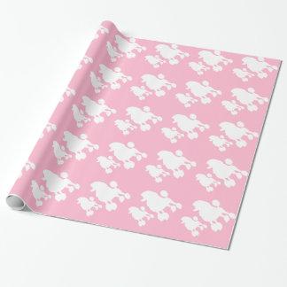 Papier d'emballage de caniche rose papier cadeau noël