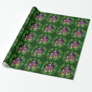 Papier d'emballage de champignons colorés papier cadeau noël