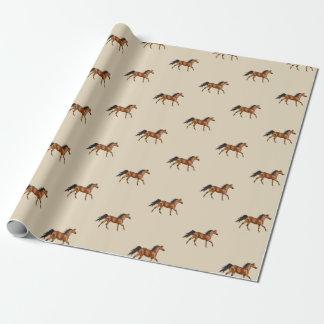 Papier d'emballage de chevaux de châtaigne papier cadeau noël