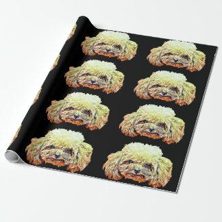 Papier d'emballage de chien de caniche de jouet papier cadeau