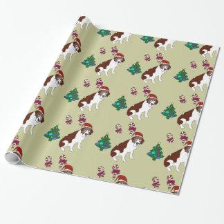 Papier d'emballage de chien de Custiom St Bernard Papier Cadeau Noël
