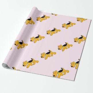 Papier d'emballage de chiot de trot Airedale de Papier Cadeau
