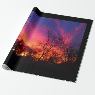 Papier d'emballage de coucher du soleil ardent papier cadeau