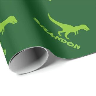 Papier d'emballage de dinosaure de T-rex et nom Papier Cadeau