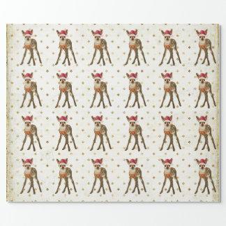 Papier d'emballage de FAON de NOËL Papier Cadeau Noël