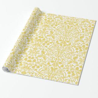 Papier d'emballage de feuillage baroque d'or papier cadeau