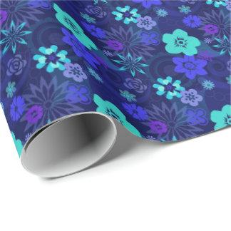 Papier d'emballage de fleur bleue moderne papier cadeau