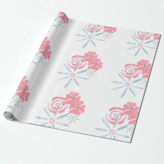 Papier d'emballage de fleur rose et bleue papier cadeau