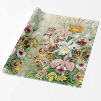 Papier d'emballage de fleurs d'Orchidae Papiers Cadeaux Noël