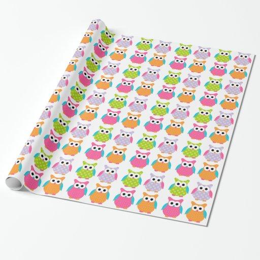 Papier d'emballage de hibou rose mignon papier cadeau