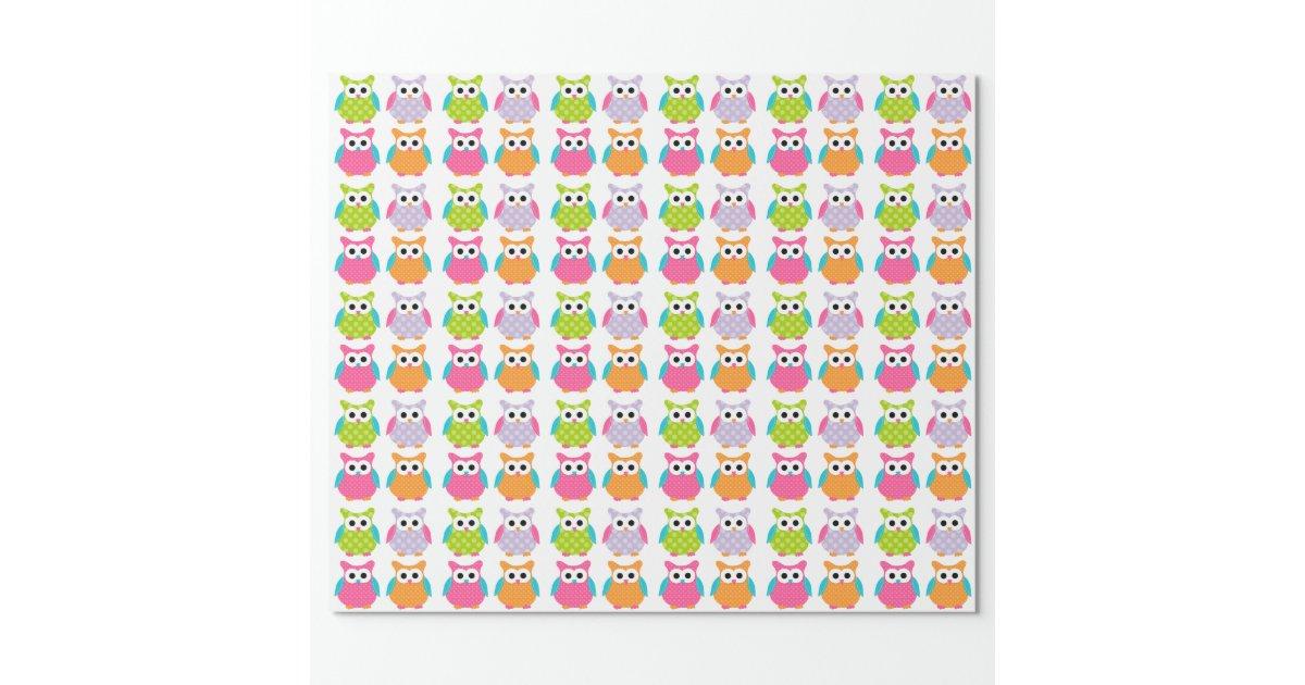 Papier d 39 emballage de hibou rose mignon papiers cadeaux - Papier cadeau personnalisable ...