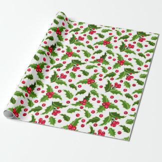 Papier d'emballage de houx rouge et vert de Noël Papier Cadeau