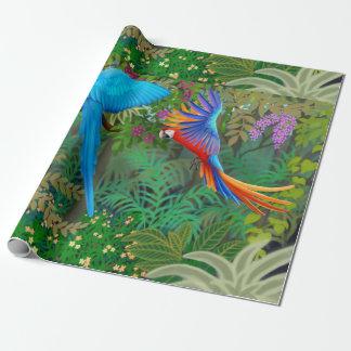 Papier d'emballage de jungle tropicale de papier cadeau