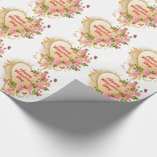 Papier d'emballage de la heureuse Sainte-Valentin Papier Cadeau