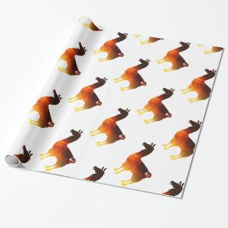 Papier d'emballage de lama du feu papier cadeau noël