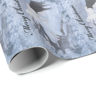 Papier d'emballage de loups papier cadeau noël