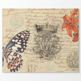 Papier d'emballage de manuscrit de papillon papier cadeau